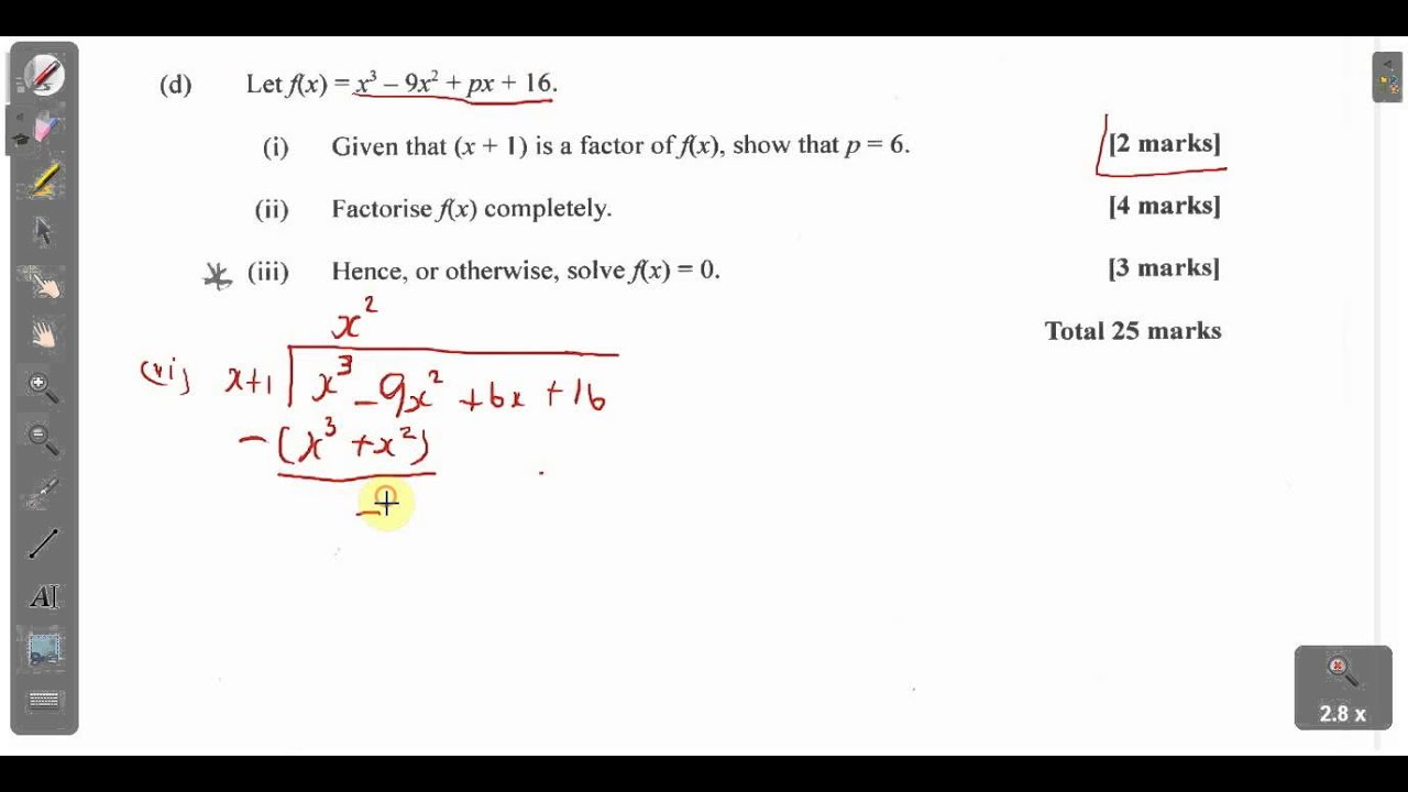 CXC CAPE Maths: Past Paper 2 Unit 1 Question 1(d) May 2013 ...