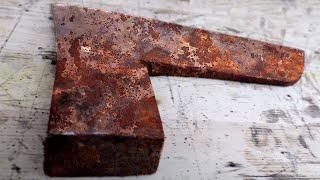 Huge Rusty two-handed Bearded Axe Restoration