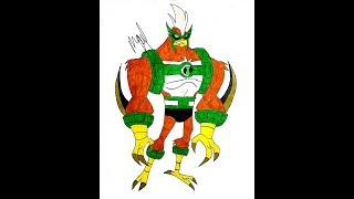 HOW TO DRAW KICKIN HAWK FROM BEN 10