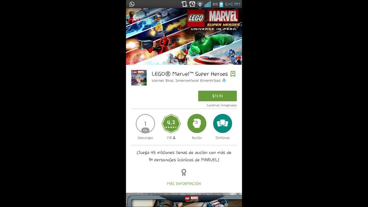Lego marvel super heroes apk+Datos sd - YouTube
