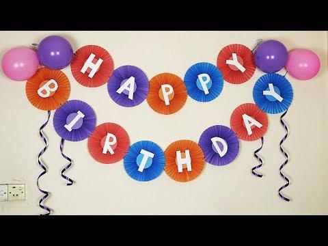 Paper Fan Birthday Banner | Birthday Decoration Ideas At Home | DIY Backdrop