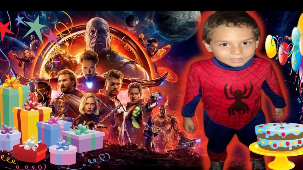 Tarjeta invitacion cumpleaños Avengers Infinity War para whapsatt facebook YouTube