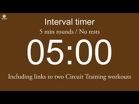 Interval timer - 5 min rounds / No rests / Flexible length (Five beep countdown version)