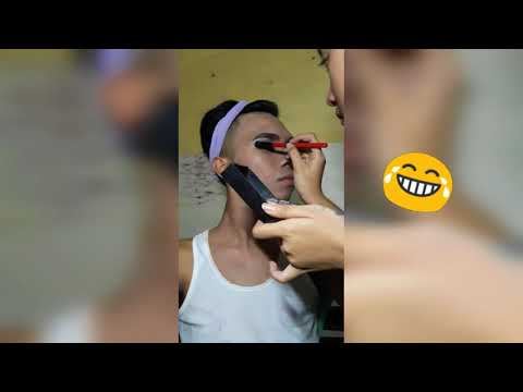A makeup transformation of a man to gay; woman to lesbian