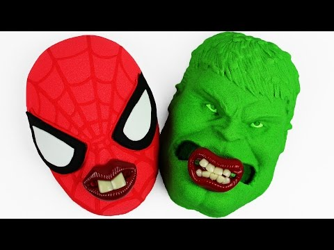 Kinetic Sand Hulk VS Spiderman Baby Pacifier Mask Mold Play Dentist Electric Toothbrush Slime Toys