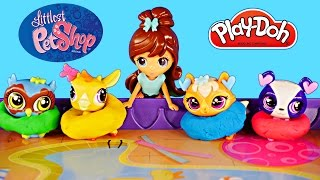 Littlest Pet Shop Baa Baa Lou and Feathers Underwood LPS App Toy Games Blythe Play Doh Pool Party