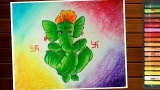 Ganpati Drawing Easy How To Draw Leaf Ganesh Step By Step Youtube