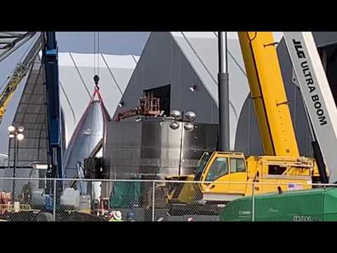 LIVE At SpaceX Boca Chica - Starship SN3 Nose Cone Stacking