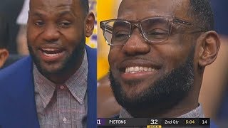 LeBron James Can't Stop Laughing While Sitting Out Due To Load Management! Lakers vs Pistons