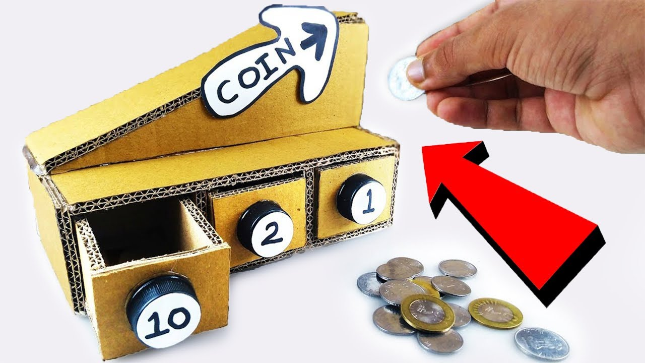 How to make coin sorting piggy bank machine from cardboard diy youtube - Coin sorting piggy bank ...