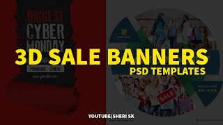 3D Sale Banner Templates Download  N PSD Files English Photoshop Tutorial