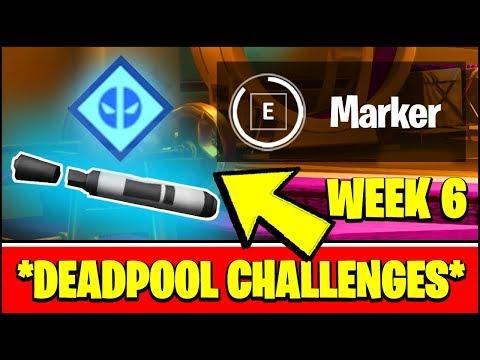 ALL DEADPOOL CHALLENGES WEEK 6 - FIND DEADPOOL'S BIG BLACK MARKER LOCATION (Fortnite)
