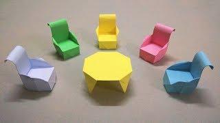 Cách gấp bàn ghế bằng giấy - Origami chair and table easy - Gấp Giấy Origami