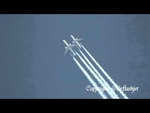 Planes Trailing close over London Heathrow Airport