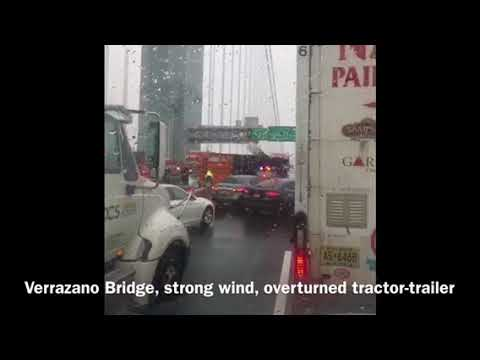 Accident on the Verrazano Bridge March 2, 2018. Overturned tractor-trailer, strong wind!!!