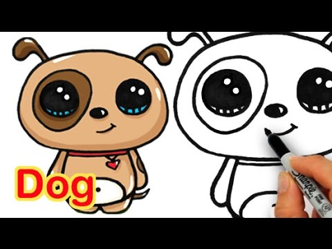 How to draw a dog simple and cute youtube