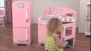 Girls Pink Retro Play Kitchen And Fridge Role Play Toys Kidkraft 53260