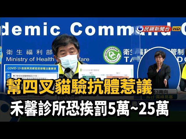 查禾馨收費驗抗體 北市衛生局:認定違法最重罰25萬-民視台語新聞