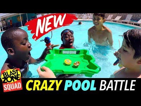 Beyblade Burst Crazy Pool Battle! Funny Beyblade Tournament in Floating Stadium!