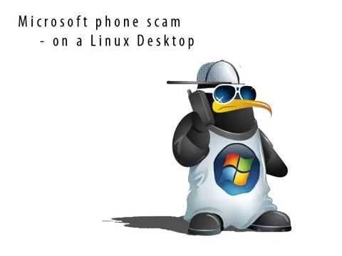Windows phone scam on a Linux Desktop