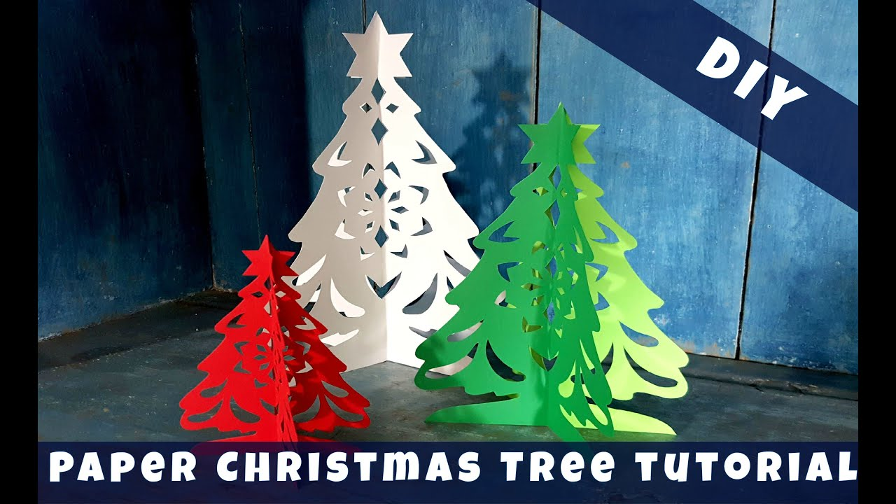 Alison 39 s 3d paper christmas tree tutorial diy youtube for 3d christmas decoration templates