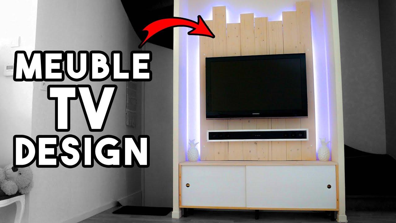 fabriquer meuble tv design avec cache cables
