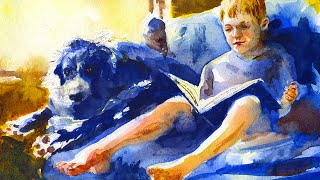 watercolor portrait painting a boy and his dog
