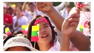 Supporters of Daw Aung San Suu Kyi rally in Yangon