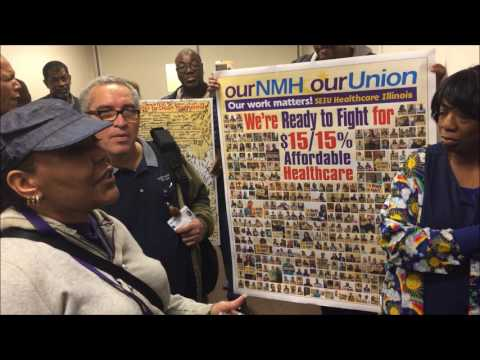 Northwestern Memorial Hospital Workers March on the Boss in Fight for $15 / 15%