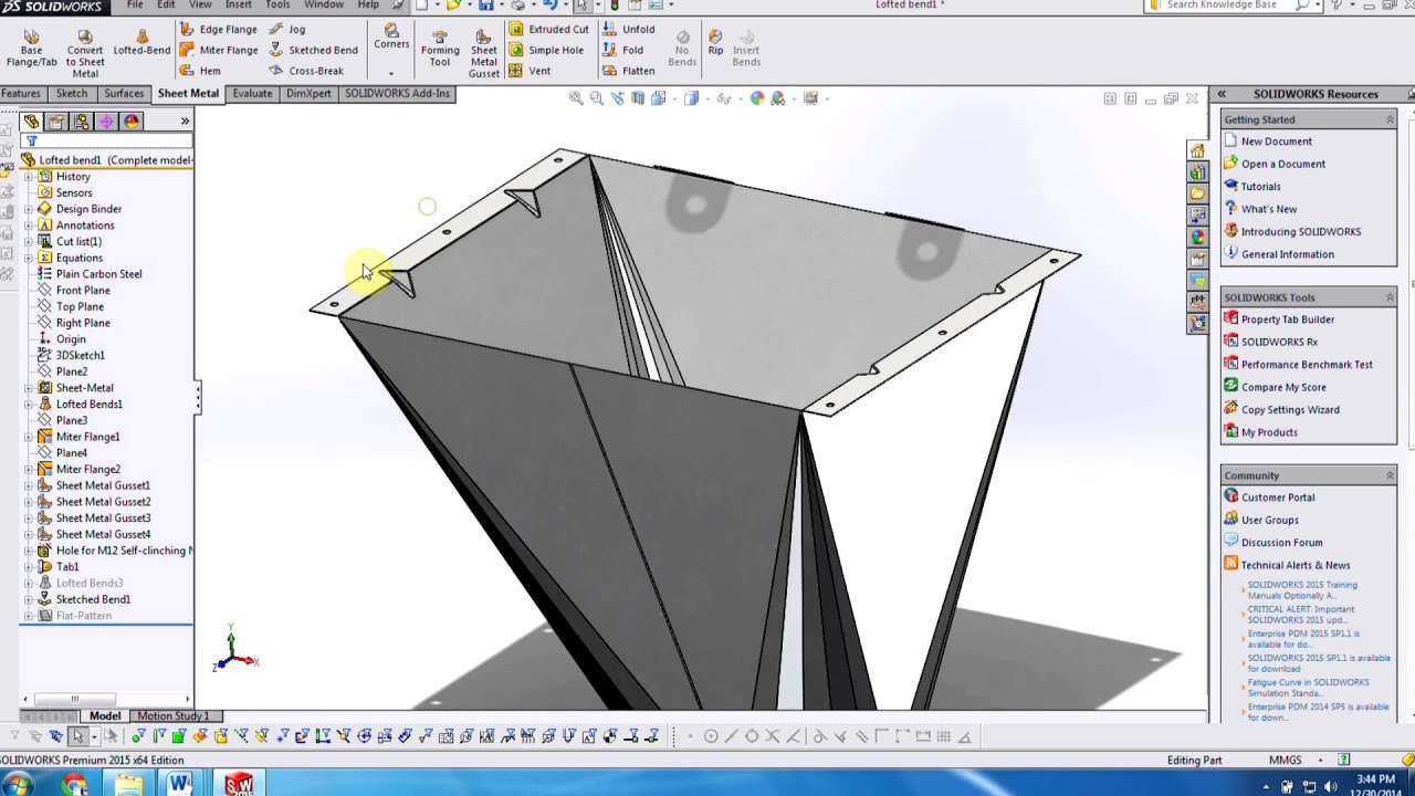Solidworks New In 2015 Sheet Metal Youtube