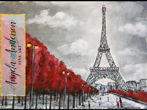 Easy Eiffel Tower Acrylic Painting | Impressionist Beginner Paris Art Cityscape | Angelooney