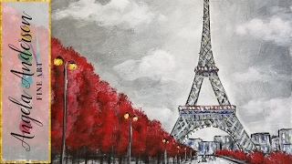 Easy Eiffel Tower Acrylic Painting Impressionist Beginner Paris Art Cityscape Angelooney
