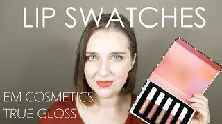 Pale Skin Swatches - EM Cosmetics True Gloss Holiday 2018 Set | paleandfreckled
