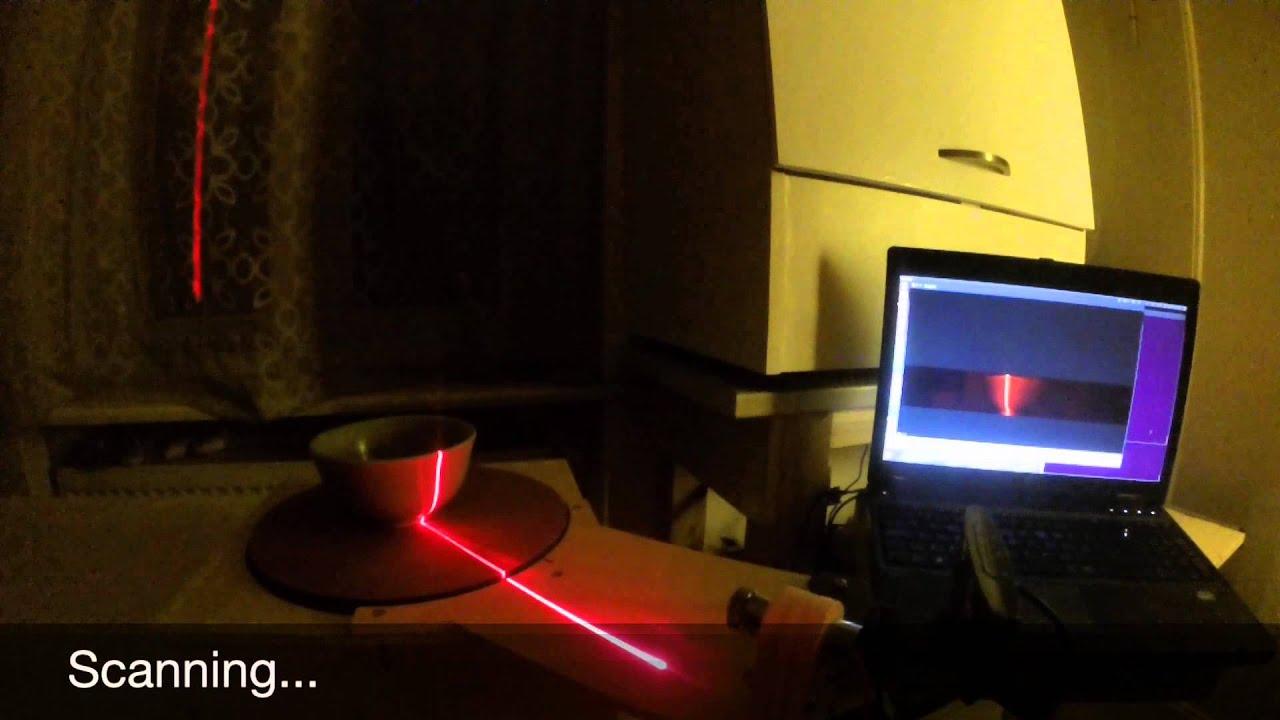 DIY 3D laser scanner - YouTube