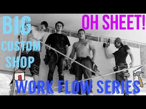 Hanging drywall in a big shop. Fast work 2x speed, work flow series. Take 2