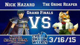 Cville Smash - Nick Hazard vs The Grime Reaper- SSBM Grand Finals - Melee