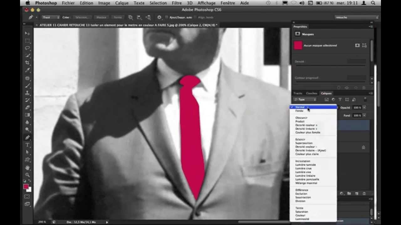 skon tv tutoriel photoshop cs6 cs5 mettre de la couleur dans une photo en noir et blanc. Black Bedroom Furniture Sets. Home Design Ideas