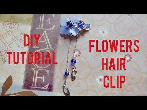 DIY Tutorial - Chinese Hair Accessories Blue Flowers Dream Hair Clips Hair Stick Hair Pins