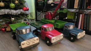 ☭ Советские игрушки АЗЛК: самосвалы, тягач с полуприцепом и экскаватор ☭