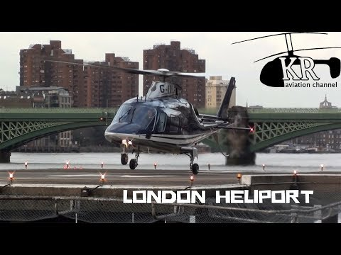 AW-109 landing, engine start and take off at London Heliport