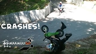 MAAMUU Kids Balance Bikes Extreme Downhill Mountain Challenge: backstage and crashes!