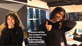 Of Monsters and Men Army Instagram Stories from The Anthem in Washington DC, September 4th 2019