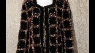 Вяжем жакет из мотивов с фантазийной пряжей. Часть 1. Сrochet knit jacket. part 1