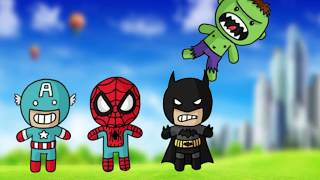 WHERE'S MY HEAD? Wrong heads Spiderman Hulk Batman Superheroes Babies Learn Colors & Nursery Rhymes