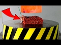 EXPERIMENT Glowing 1000 degree HYDRAULIC PRESS 100 TON vs 100 FIRECRACKERS