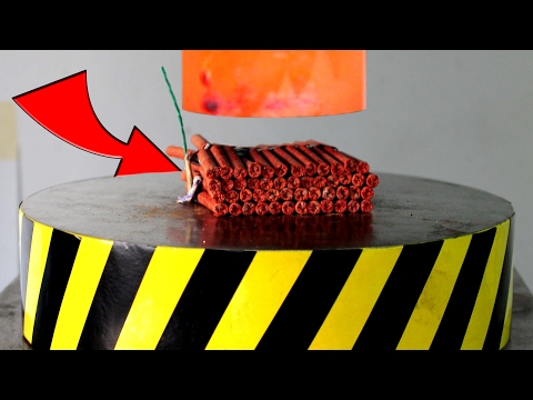 Thumbnail: EXPERIMENT Glowing 1000 degree HYDRAULIC PRESS 100 TON vs 100 FIRECRACKERS