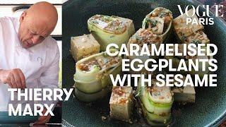 Michelin star chef Thierry Marx cooks caramelized eggplant  Vogue Kitchen  Vogue Paris