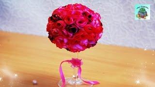 КАК СДЕЛАТЬ ТОПИАРИЙ ИЗ РОЗ  ДЛЯ ДОМАШНЕГО ДЕКОРА СВОИМИ РУКАМИ. Topiary of roses. (DIY, Handmade).