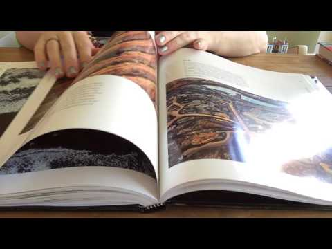 ASMR slow page turning through books with glossy pages