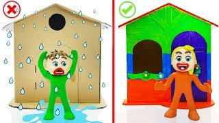 SUPERHERO BABY BUILDS PLAYHOUSE  Play Doh Cartoons Animation